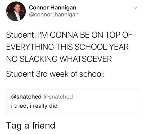 Memes, School, and Snatched: Connor Hannigan  @connor_hannigan  Student: I'M GONNA BE ON TOP OF  EVERYTHING THIS SCHOOL YEAR  NO SLACKING WHATSOEVER  Student 3rd week of school:  @snatched @snatched  i tried, i really did Tag a friend