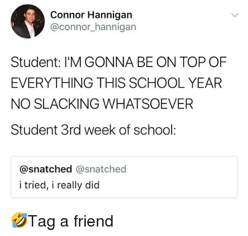 Memes, School, and Snatched: Connor Hannigan  @connor_hannigan  Student: I'M GONNA BE ON TOP OF  EVERYTHING THIS SCHOOL YEAFR  NO SLACKING WHATSOEVER  Student 3rd week of school:  @snatched @snatched  i tried, i really did 🤣Tag a friend