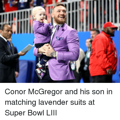 Conor McGregor, Super Bowl, and Suits: Conor McGregor and his son in matching lavender suits at Super Bowl LIII