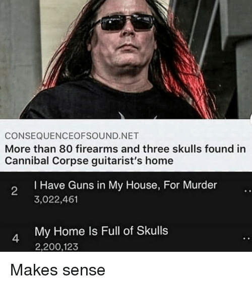 Bailey Jay, Guns, and My House: CONSEQUENCEOFSOUND.NET  More than 80 firearms and three skulls found in  Cannibal Corpse guitarist's home  I Have Guns in My House, For Murder  3,022,461  2  My Home Is Full of Skulls  2,200,123 Makes sense