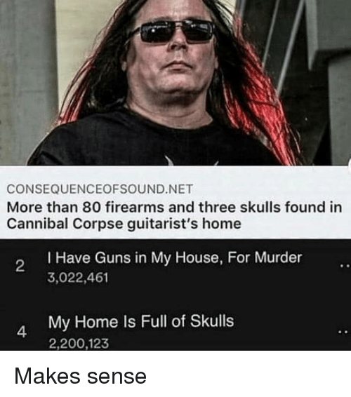 Bailey Jay, Guns, and My House: CONSEQUENCEOFSOUND.NET  More than 80 firearms and three skulls found in  Cannibal Corpse guitarist's home  I Have Guns in My House, For Murder  3,022,461  2  My Home Is Full of Skulls  2,200,123  4 Makes sense