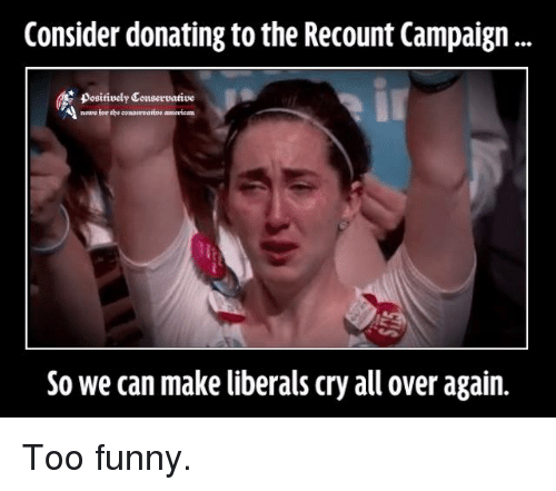 Memes, Liberalism, and 🤖: Consider donating to the Recount Campaign  A news for the coupereatine american  So we can make liberals cry all over again. Too funny.