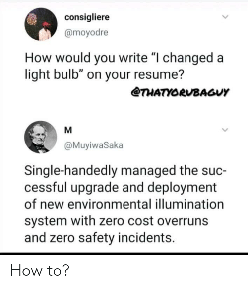 """Zero, How To, and Resume: consigliere  @moyodre  How would you write """"I changed a  light bulb"""" on your resume?  THATYORUBAGUY  M  @MuyiwaSaka  Single-handedly managed the suc-  cessful upgrade and deployment  of new environmental illumination  system with zero cost overruns  and zero safety incidents How to?"""
