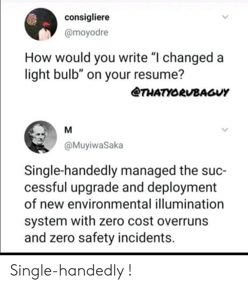 """Zero, Resume, and Single: consigliere  @moyodre  How would you write """"I changed a  light bulb"""" on your resume?  @THATYORUBAGUY  @MuyiwaSaka  Single-handedly managed the suc-  cessful upgrade and deployment  of new environmental illumination  system with zero cost overruns  and zero safety incidents. Single-handedly !"""