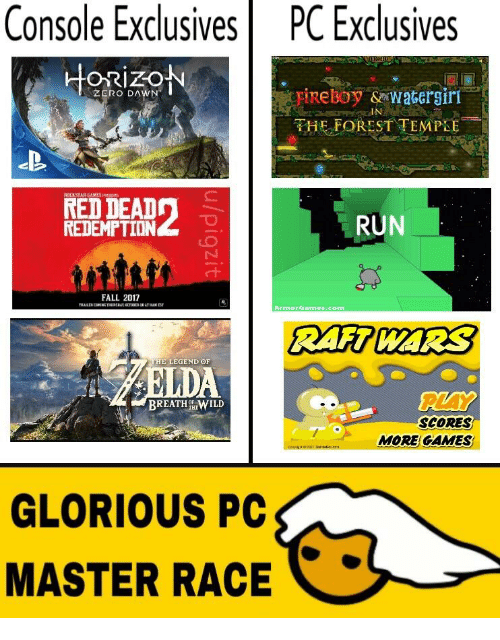 console exclusives pc exclusives orizon fireboy sowatergiri zero dawn the 16350414 ✅ 25 best memes about glorious pc master race glorious pc,Pc Master Race Meme