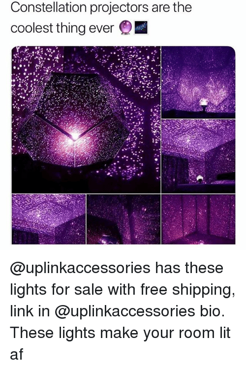 Af, Lit, and Free: Constellation projectors are the  coolest thing ever @uplinkaccessories has these lights for sale with free shipping, link in @uplinkaccessories bio. These lights make your room lit af