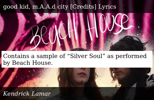 """Contains a Sample of """"Silver Soul"""" as Performed by Beach"""