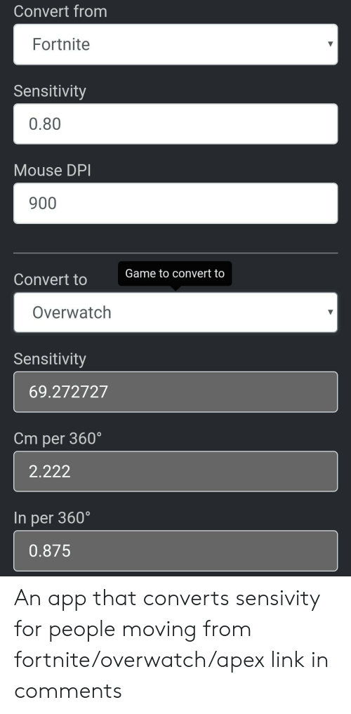 Convert From Fortnite Sensitivity 080 Mouse DPI 900 Game to Convert