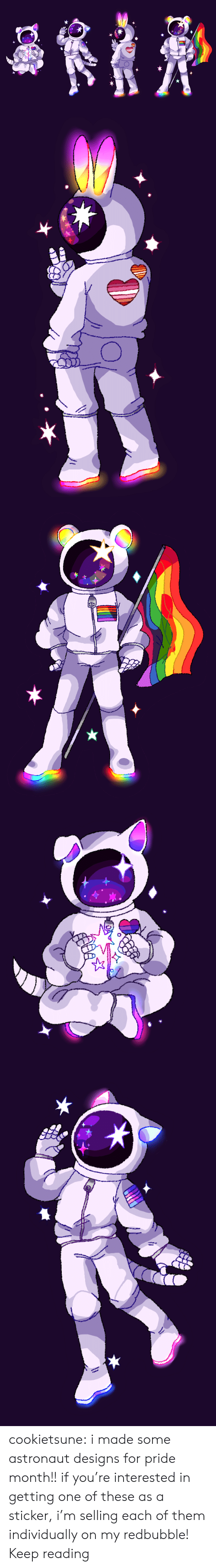 Target, Tumblr, and Blog: cookietsune:  i made some astronaut designs for pride month!! if you're interested in getting one of these as a sticker, i'm selling each of them individually on my redbubble! Keep reading