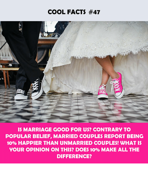 Facts, Marriage, and Cool: COOL FACTS #47  IS MARRIAGE GOOD FOR US? CONTRARY TO  POPULAR BELIEF, MARRIED COUPLES REPORT BEING  1096 HAPPIER THAN UNMARRIED COUPLES! WHAT IS  YOUR OPINION ON THIS? DOES 10% MAKE ALL THE  DIFFERENCE?