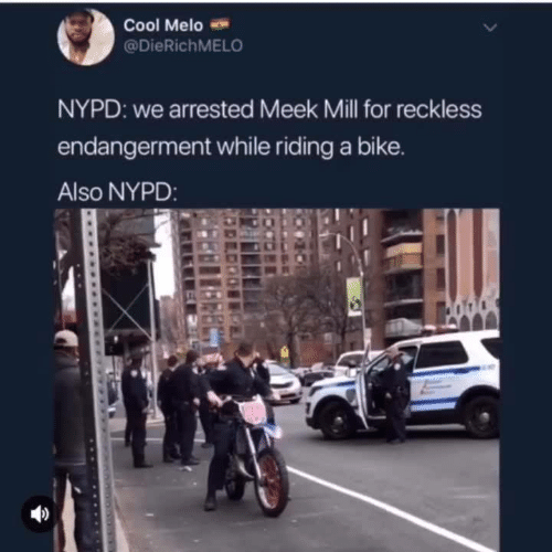 Meek Mill, Memes, and Cool: Cool Melo  @DieRichMELO  NYPD: we arrested Meek Mill for reckless  endangerment while riding a bike.  Also NYPD:
