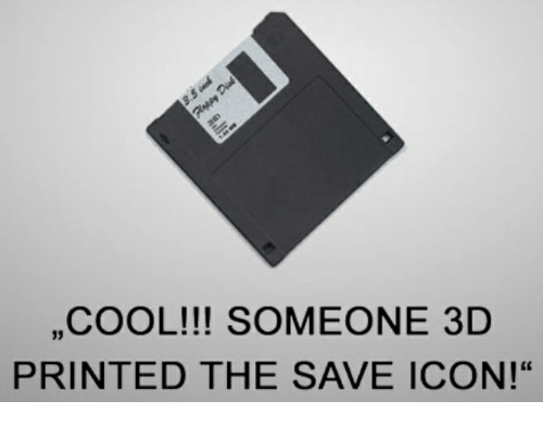 Cool, Icon, and Saved: ,,COOL!!! SOMEONE 3D  PRINTED THE SAVE ICON!""