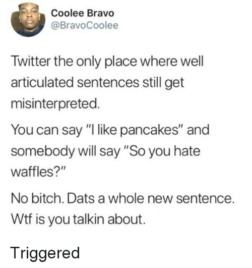 """Bitch, Twitter, and Wtf: Coolee Bravo  @BravoCoolee  Twitter the only place where well  articulated sentences still get  misinterpreted.  You can say """"I like pancakes"""" and  somebody will say """"So you hate  waffles?""""  No bitch. Dats a whole new sentence.  Wtf is you talkin about. Triggered"""