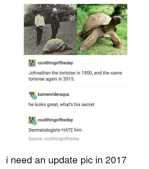Black Twitter, Secret, and Him: coolthingoftheday  Johnathan the tortoise in 1900, and the same  tortoise again in 2015.  kamenrideraqua  he looks great, what's his secret  coolthingoftheday  Dermatologists HATE him  Source: coolthingoftheday i need an update pic in 2017