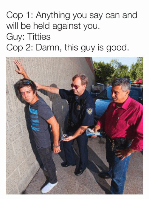 Dank, Titties, and Good: Cop 1: Anything you say can and  will be held against you.  Guy: Titties  Cop 2: Damn, this guy is good.