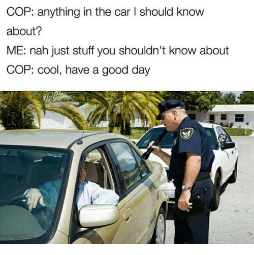 Cool, Good, and Stuff: COP: anything in the car l should know  about?  ME: nah just stuff you shouldn't know about  COP: cool, have a good day
