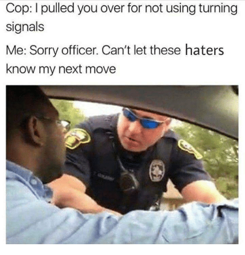 Sorry, Next, and Cop: Cop: I pulled you over for not using turning  signals  Me: Sorry officer. Can't let these haters  know my next move