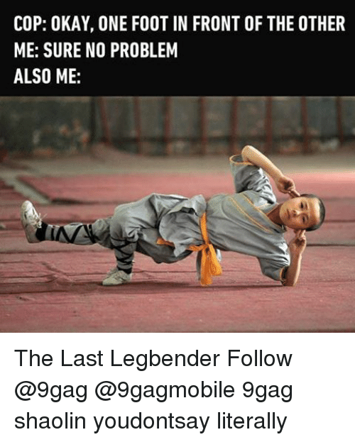 Memes, The Other Me, and 🤖: COP: OKAY, ONE FOOT IN FRONT OF THE OTHER  ME: SURE NO PROBLEM  ALSO ME The Last Legbender Follow @9gag @9gagmobile 9gag shaolin youdontsay literally