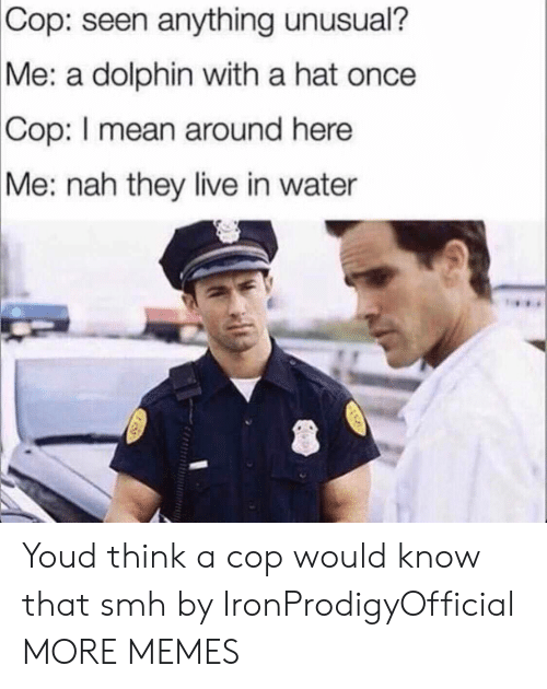Dank, Memes, and Smh: Cop:  seen anything unusual?  a dolphin with a hat once  Me:  Cop:  I mean around here  Me: nah they live in water Youd think a cop would know that smh by IronProdigyOfficial MORE MEMES