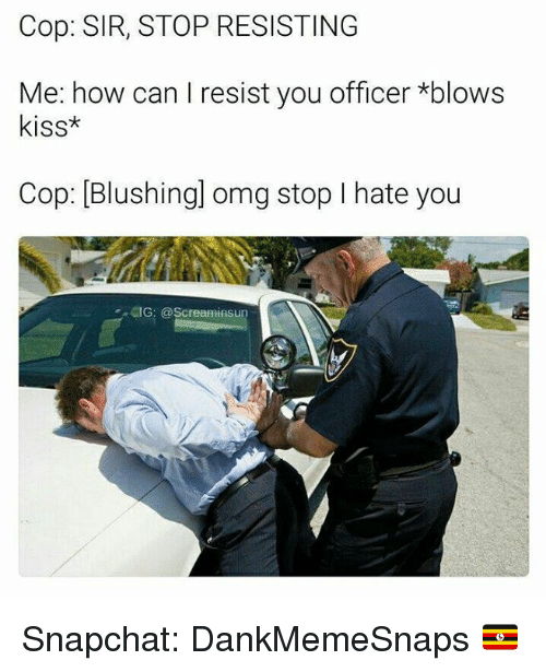 Memes, Omg, and Snapchat: Cop: SIR, STOP RESISTING  Me: how can I resist you officer *blows  kiss*  Cop: [Blushingl omg stop I hate you  IG: @Screaminsun Snapchat: DankMemeSnaps 🇺🇬