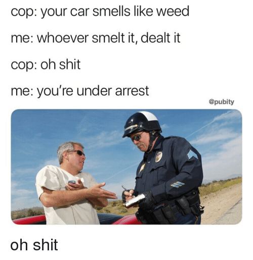 Shit, Weed, and Car: cop: your car smells like weed  me: whoever smelt it, dealt it  cop: oh shit  me: you're under arrest  @pubity