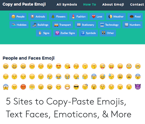 Copy and Paste Emoji All Symbols How to About Emoj Contact