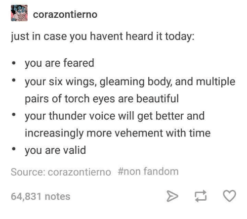 Beautiful, Time, and Today: corazontierno  just in case you havent heard it today:  you are feared  your six wings, gleaming body, and multiple  pairs of torch eyes are beautiful  your thunder voice will get better and  increasingly more vehement with time  * you are valid  Source: corazontierno #non fandom  64,831 notes