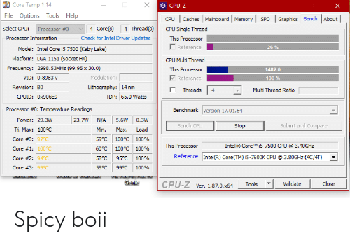 Core Temp 114 CPU-Z File Options Tools Help Caches Mainboard
