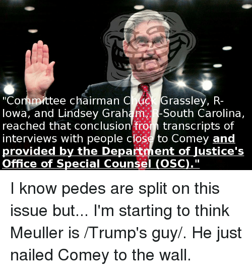 """Office, Lindsey Graham, and The Wall: """"Cormmittee chairman C uc Grassley, R-  lowa, and Lindsey Graham,. -Souh Carolina,  reached that conclusion fron transcripts of  interviews with people close to Comey and  provided by the Department of Justice's  Office of Special Counsel (OSC)."""""""