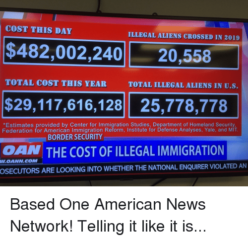 Latest News Illegal Immigrants: COST THIS DAY ILLEGAL ALIENS CROSSED IN 2019 $482002240