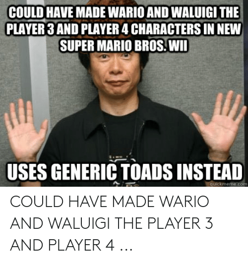 COULD HAVE MADE WARIO AND WALUIGI THE PLAYER 3 AND PLAYER 4