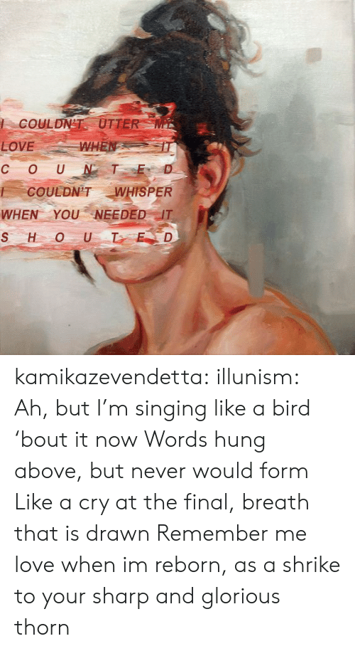 Love, Singing, and Target: COULDN'T UTTER  WHEN  LOVE  OUNT E  C  WHISPER  COULDN'T  WHEN YOUNEEDED IT  SHOU T ED kamikazevendetta:  illunism: Ah, but I'm singing like a bird 'bout it now Words hung above, but never would form  Like a cry at the final, breath that is drawn  Remember me love when im reborn, as a shrike to your sharp and glorious thorn