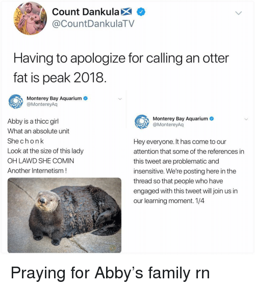 Family, Memes, and Aquarium: Count Dankula X  CountDankulaTV  Having to apologize for calling an otter  fat is peak 2018  Monterey Bay Aquarium  @MontereyAq  Monterey Bay Aquarium  @MontereyAq  Abby is a thicc girl  What an absolute unit  She chonk  Look at the size of this lady  OH LAWD SHE COMIN  Another Internetism!  Hey everyone. It has come to our  attention that some of the references in  this tweet are problematic and  insensitive. We're posting here in the  thread so that people who have  engaged with this tweet will join us in  our learning moment. 1/4 Praying for Abby's family rn