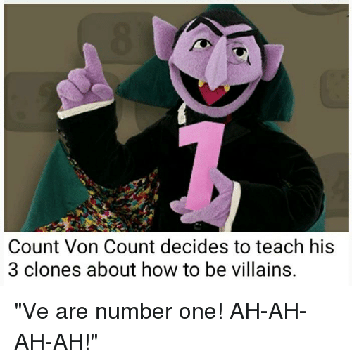 Count Von Count Decides To Teach His 3 Clones About How To