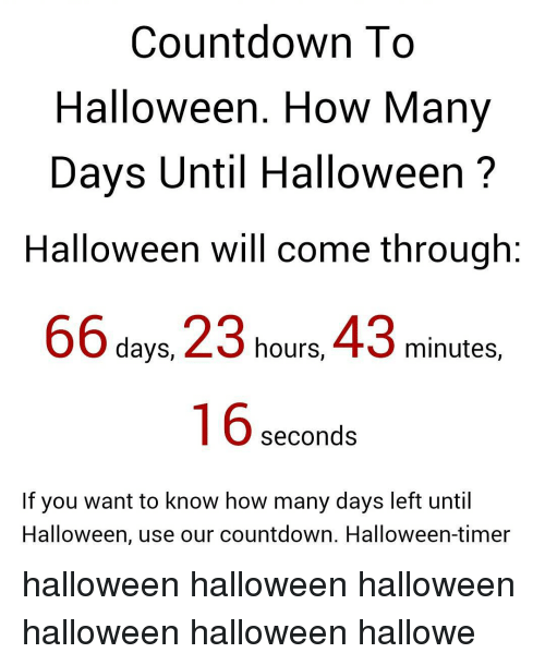 Countdown to Halloween How Many Days Until Halloween Halloween ...