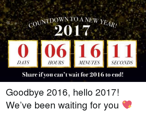 Countdown, Mexican Word of the Day, and Wait for You: COUNTDOWN TOA NEW YEAR!  2017  0 106 16 11  DAYS  HOURS  MINUTES SECONDS  Share if you can't wait for 2016 to end! Goodbye 2016, hello 2017! We've been waiting for you 💖