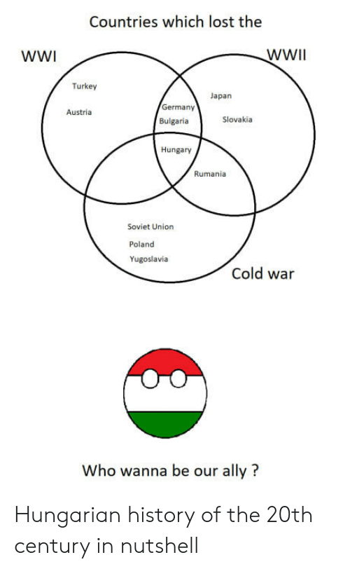 Lost, Ally, and Germany: Countries which lost the  WWI  WWIl  Turkey  Japan  Germany  Austria  Bulgaria  Slovakia  Hungary  Rumania  Soviet Union  Poland  Yugoslavia  Cold war  Who wanna be our ally? Hungarian history of the 20th century in nutshell