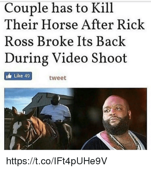 Rick Ross, Horse, and Video: Couple has to Kill  Their Horse After Rick  Ross Broke Its Back  During Video Shoot  Like 49  tweet https://t.co/IFt4pUHe9V