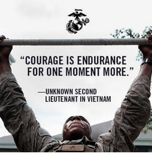 "Memes, Vietnam, and 🤖: ""COURAGE IS ENDURANCE  FOR ONE MOMENT MORE.""  UNKNOWN SECOND  LIEUTENANT IN VIETNAM"