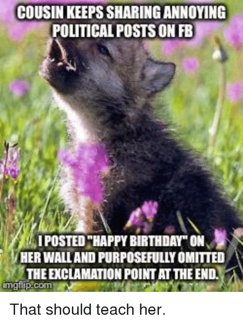 "Birthday, Happy Birthday, and Happy: COUSIN KEEPS SHARING ANNOYING  POLITICAL POSTS ON FB  I POSTED ""HAPPY BIRTHDAY"" ON  HER WALLAND PURPOSEFULLY OMITTED  THE EXCLAMATION POINT AT THE END.  imglip.com"