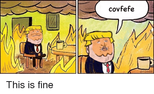 Politics, Fine, and This: covfefe  ai124nk8 This is fine