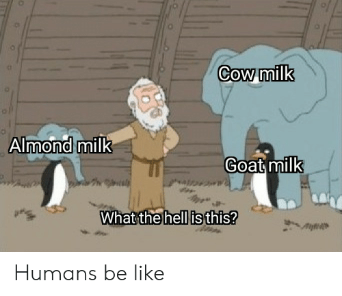 Be Like, Goat, and Dank Memes: Cow milk  Almond milk  Goat milk  What the hell is this? Humans be like