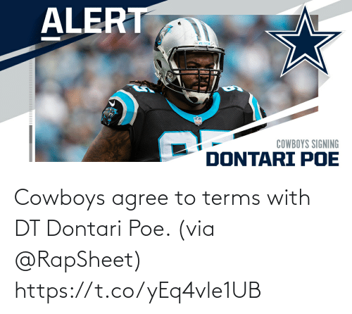 Dallas Cowboys, Memes, and 🤖: Cowboys agree to terms with DT Dontari Poe. (via @RapSheet) https://t.co/yEq4vle1UB