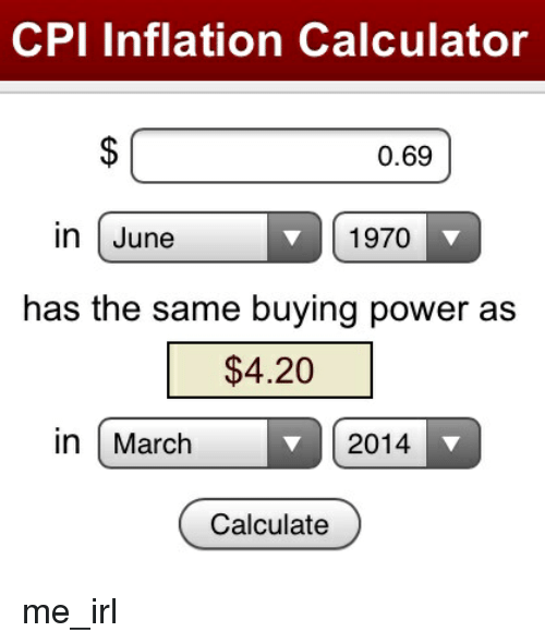 cpi inflation calculator 069 in june 1970 has the same
