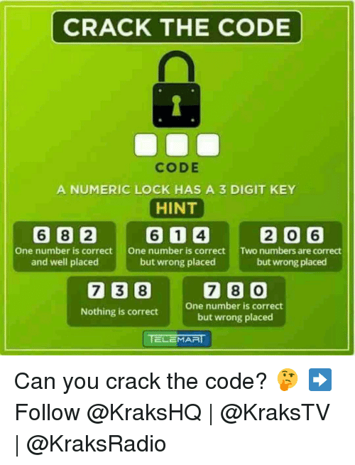 Memes, 🤖, and Code: CRACK THE CODE  CODE  A NUMERIC LOCK HAS A 3 DIGIT KEY  HINT  6 8 2 61 4 2 0 6  One number is correct  One number is correct  Two numbers are correct  and well placed  but wrong placed  but wrong placed  7 38 7 0  One number is correct  Nothing is correct  but wrong placed  ELEMAA Can you crack the code? 🤔 ➡️ Follow @KraksHQ   @KraksTV   @KraksRadio
