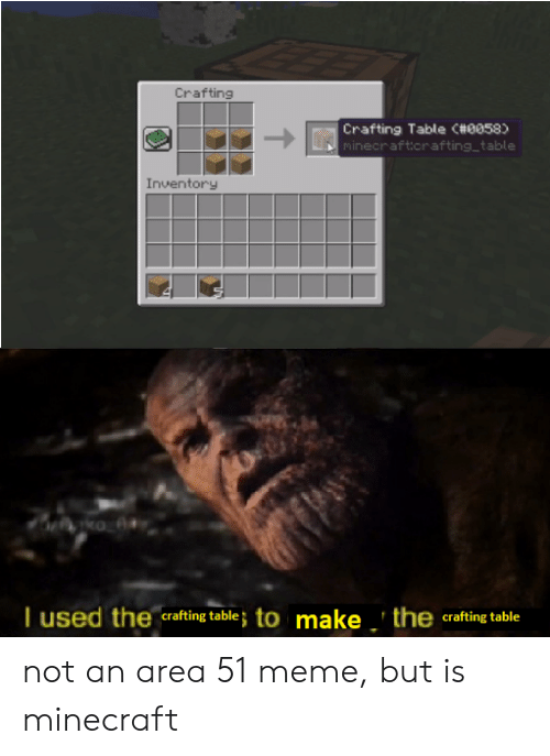 Crafting Crafting Table C 0058 Minecraftorafting Table Inventory Tused The Crafting Table To Make The Crafting Table Not An Area 51 Meme But Is Minecraft Meme On Me Me