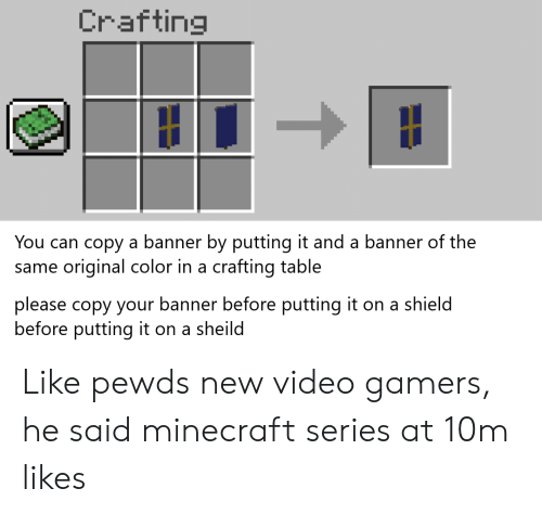 Crafting You Can Copy A Banner By Putting It And A Banner Of The Original Color In A Crafting Table Same Please Copy Your Banner Before Putting It On A Shield Before