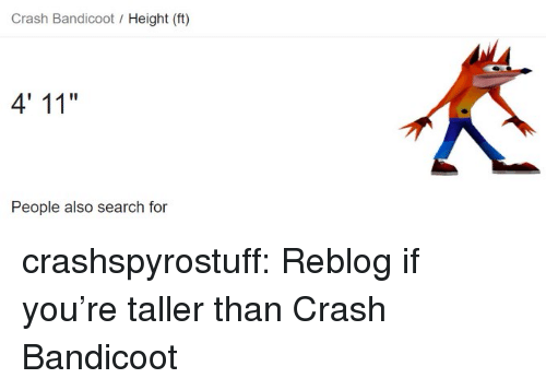Crash Bandicoot Height Ft 4' 11 People Also Search for