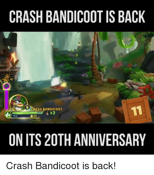 Crash Bandicoot, Funny, and Back: CRASH BANDICOOT IS BACK  CRASH BANDICOOT  O 65  151  ON ITS 20TH ANNIVERSARY Crash Bandicoot is back!
