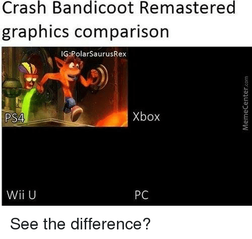 Crash Bandicoot, Memes, and Ps4: Crash Bandicoot Remastered  graphics comparison  IG Polar SaurusRex  Xbox  PS4  Wii U  PC See the difference?